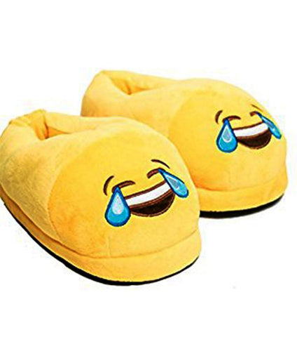Emoji Plush Slippers - Laughing - Yellow