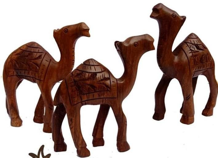 Wooden Work & Hand Made Classic Camel Set Decoration Piece