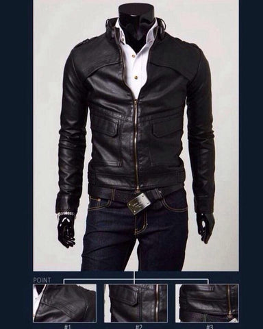 Black - Faux Leather Jacket for Men