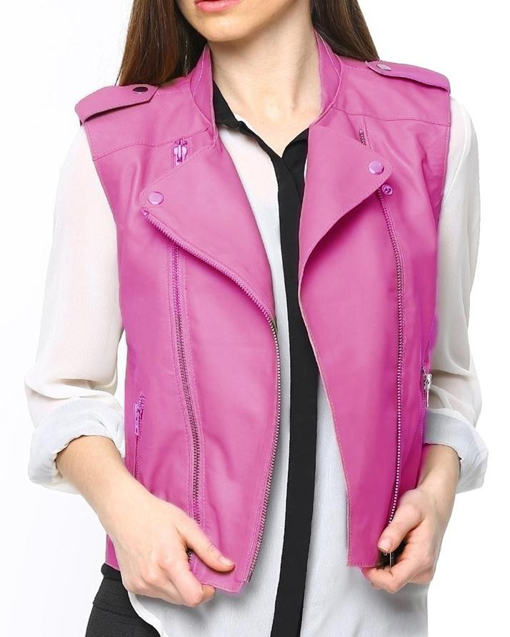 Pink Leather Jacket For Women