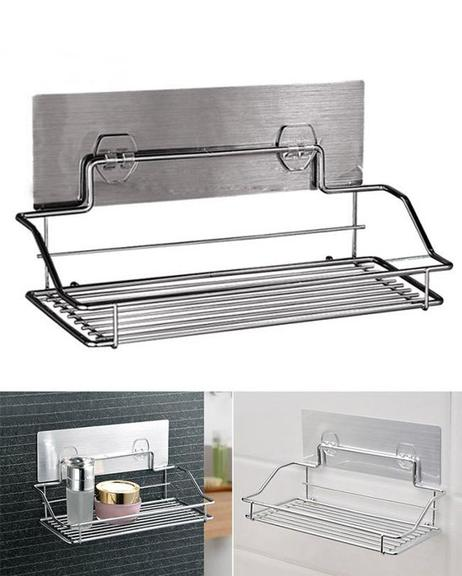 Chromed Metal Removable Storage Rack With Magic Sticker For Bathroom