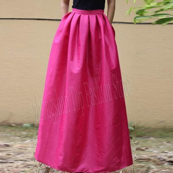 Women's Hot Pink Pleated Silk Skirt. E4h-Hps020