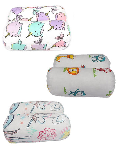 Asaan Bachpan Pack of 6 Soft Foam Pillows for Babies (12 Inch Height)  Multicolour