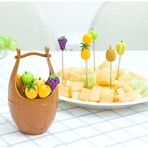 Artificial Wooden Casks With Fruits Fork - Pack of 2 - Multi
