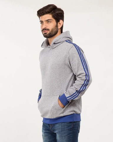 Grey Cotton Twill Tape Style Hoodie For Men