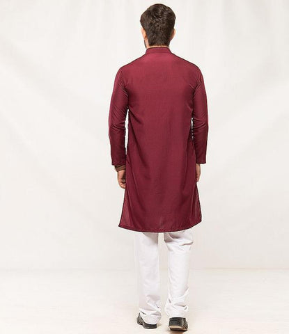 Maroon Wash N Wear Kurta For Men