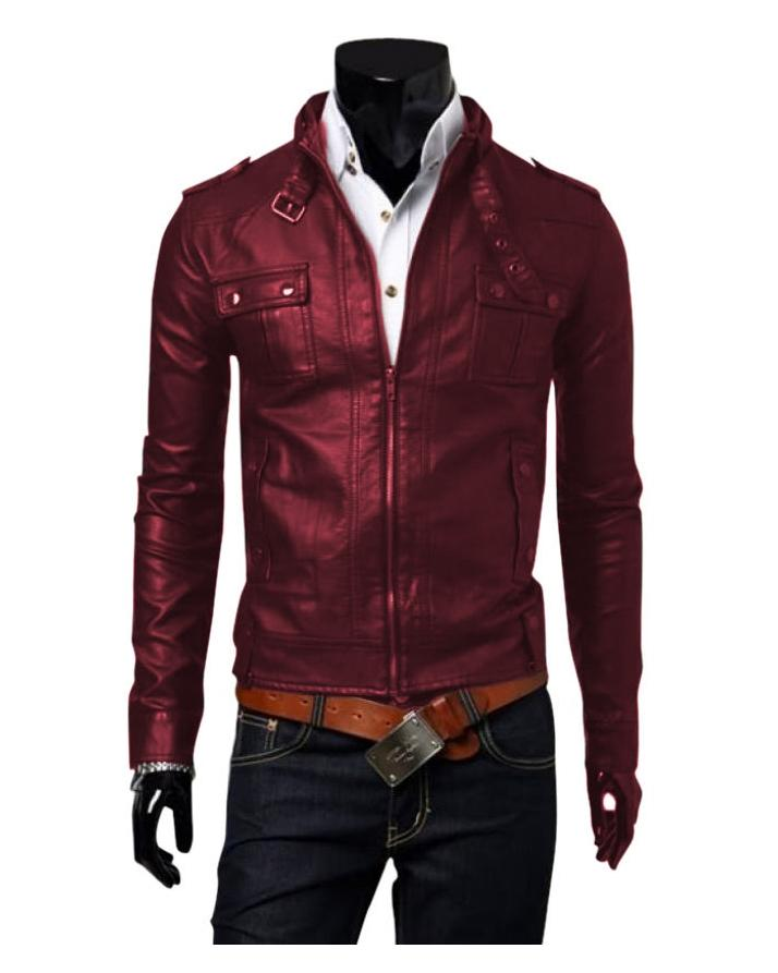Highstreet Maroon Faux Leather Jacket For Men