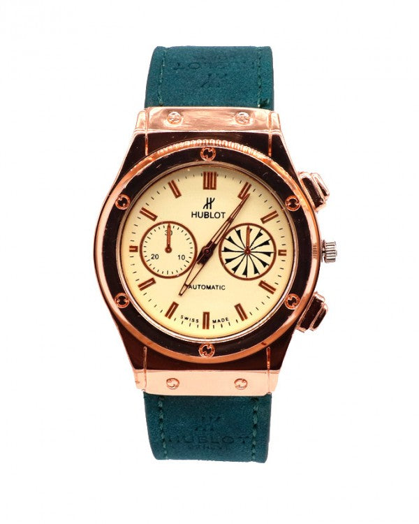 Green strap with light golden stylish dial watch
