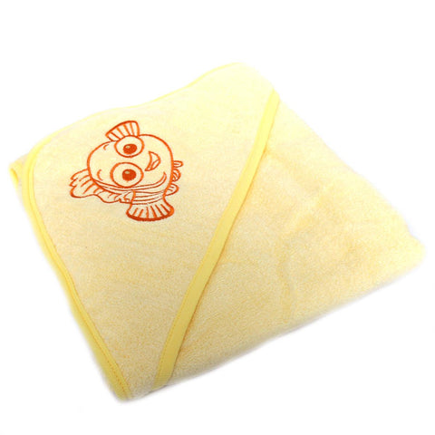 Disnep Baby Original Hooded Double Bath Towel for Kids (100% Cotton) Finding Nemo  30x30 Inch Yellow