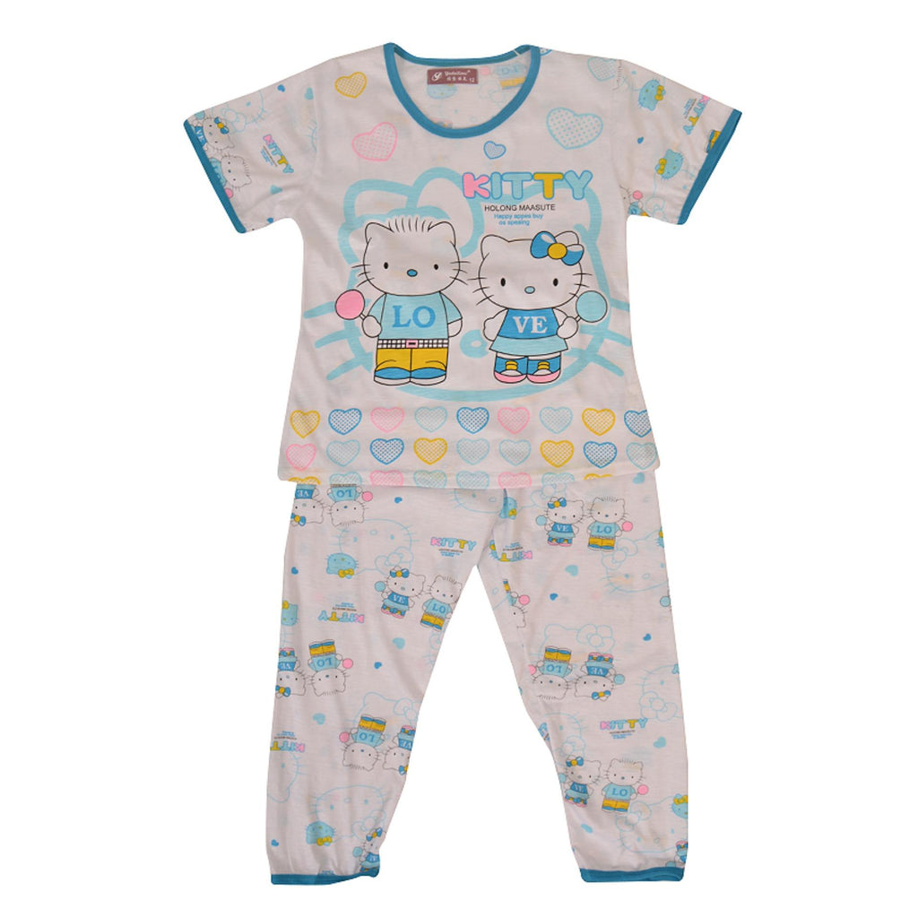 Pack of 2 Pure Cotton Night Suit (Pajama + Tshirt) for Girls - Kitty UG-428-6