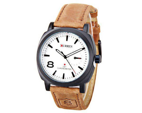 Curren Analog White Dial Brown Leather Strap Watch for Men