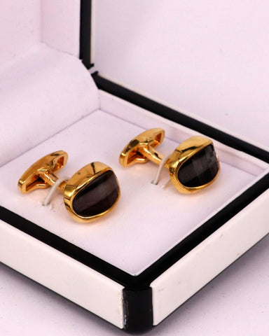 Golden with black stone men cufflink