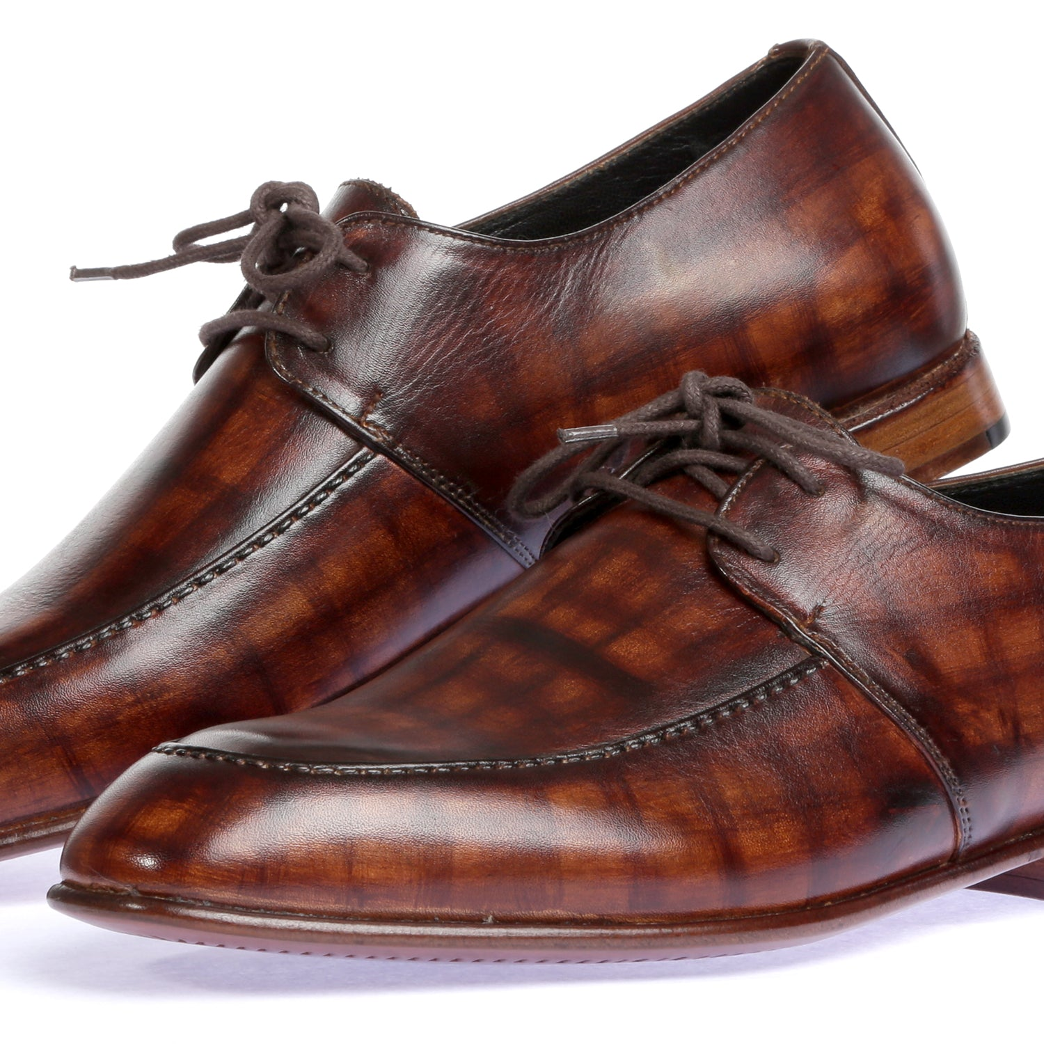 Pure Leather Hand Painted Shoes - Dark Brown