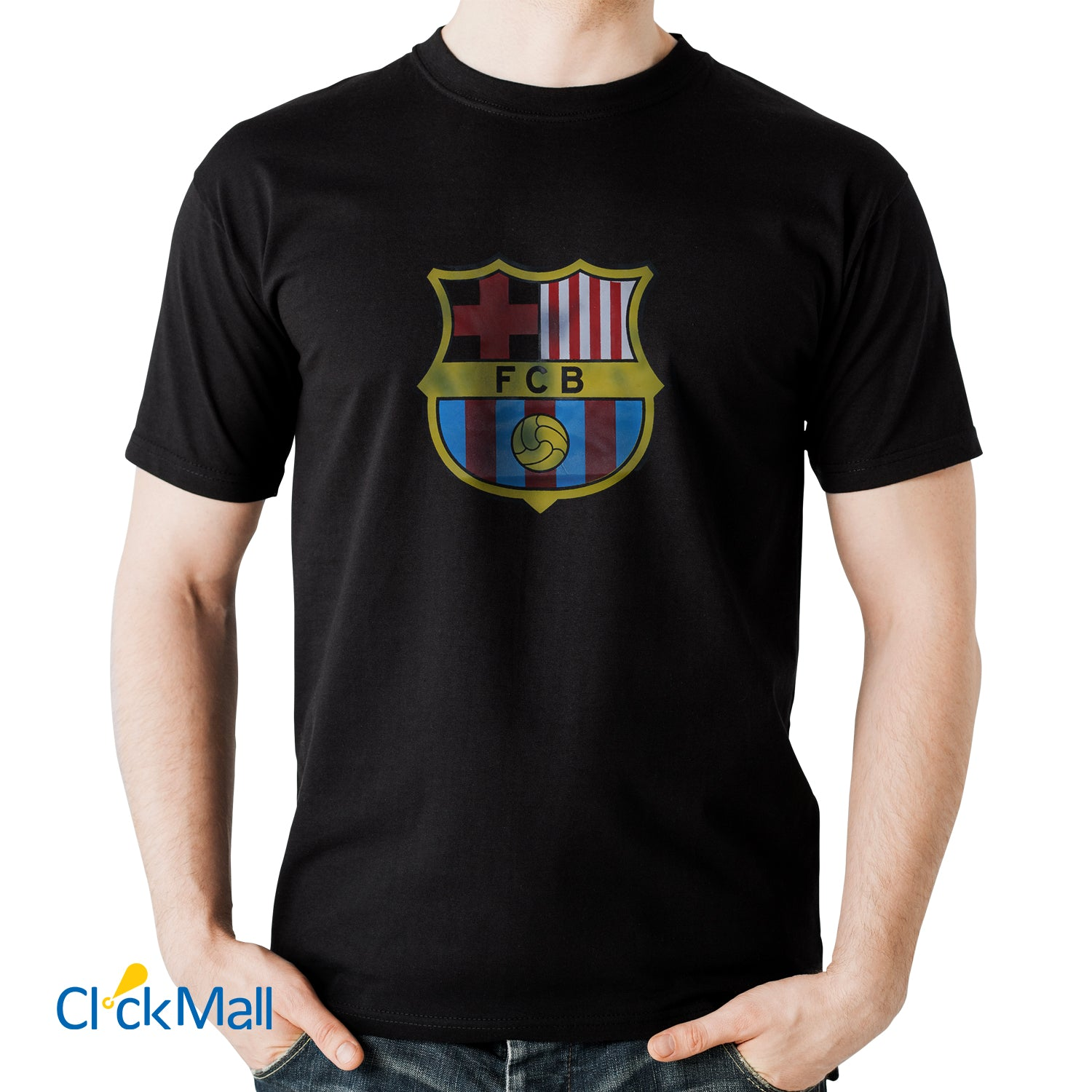 Time Line Black FCB Printed Polyester Sports T Shirt for Men