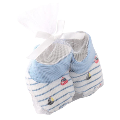 Vitamin Baby Newborn Baby Booties for 0 - 6 Months Baby (Super Soft)  Blue