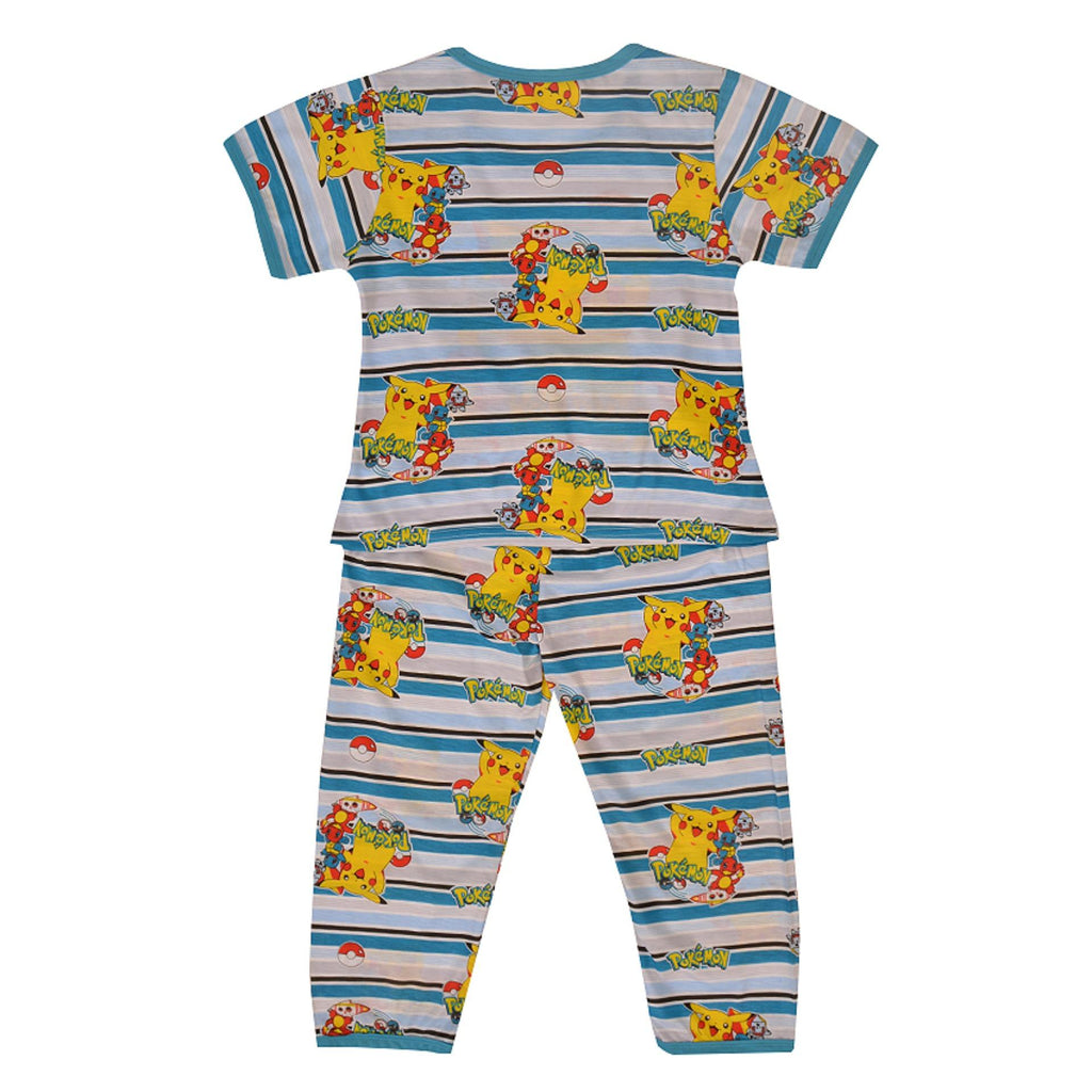 Pack of 2 Pure Cotton Night Suit (Pajama + Tshirt) for Boys - Pokemon UG-420-6