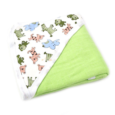 Angel Kids Hooded Double (Thick) Bath Towel For Kids (100% Cotton) 30x30 Inch  Green