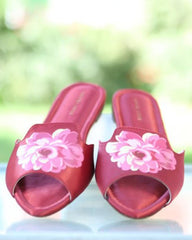 Synthetic Lapis Maroon Chappals For Women