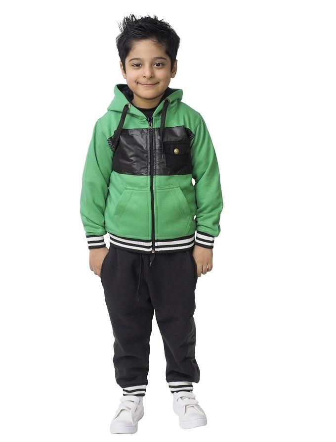 Green Fleece Tracksuit Set For Boys - Green-02