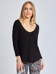Black Deep Neck Long Sleeve T-shirt For Women