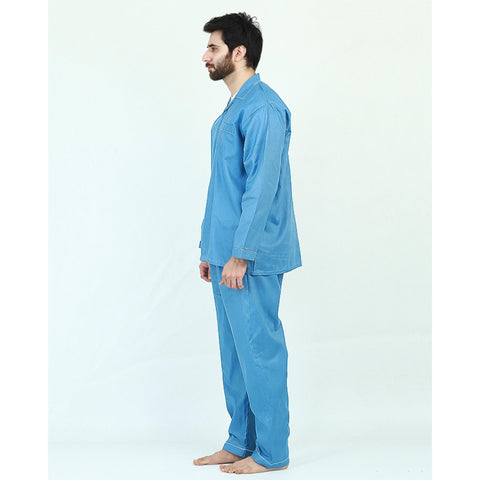 Pack of 2 Cotton Polyester Night Suit (Pajama + Shirt) for Men - Blue UG-436-S