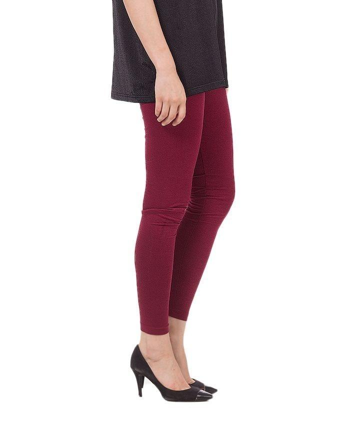 Maroon Viscose Tights For Women