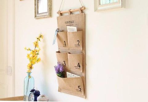 Vintage Canvas Wall Storage Pocket Bag Various Jewelry Keys Organizer Bag