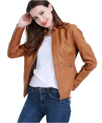 Women Pu Leather Jacket Women Pu Leather Jacket Ll-01 - C-Brown