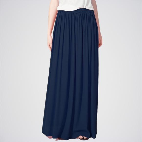 Women's Navy Blue Slim Vintage Long Maxi Skirt. E4h-11014
