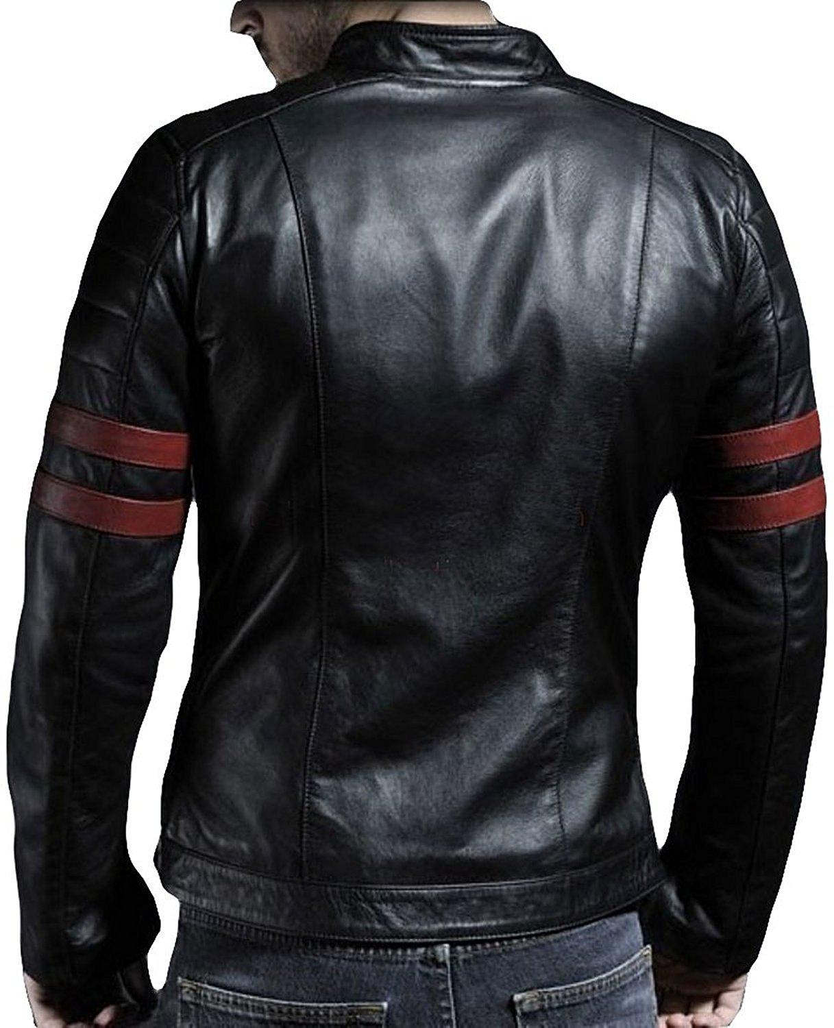 Black Men Slim Fit Pu Leather Jacket R.B RED