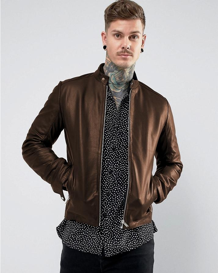 9ddc27bc0 Brown Faux Leather Highstreet Jacket for Men