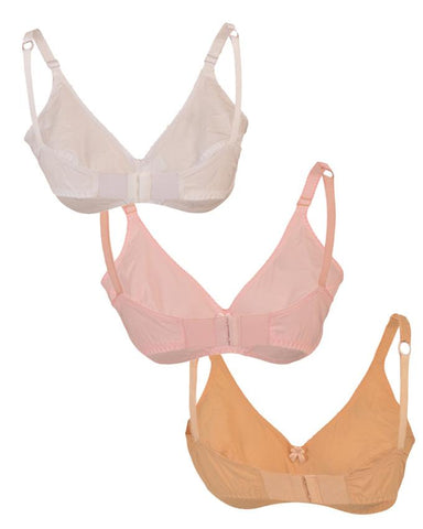 Pack of 3 Roses Gold Swiss Lady Cotton 2 Hooks Plain Bra for Women - Multicolour UG-511-32