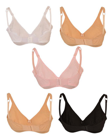 Pack of 5 Roses Gold Swiss Lady Cotton 2 Hooks Plain Bra for Women - Multicolour UG-512-32