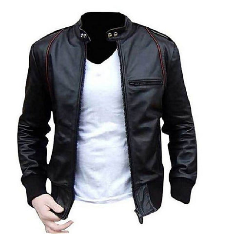 Men Slim Fit Pu Black Leather Jacket A1-Buy 1 Get 1 Free