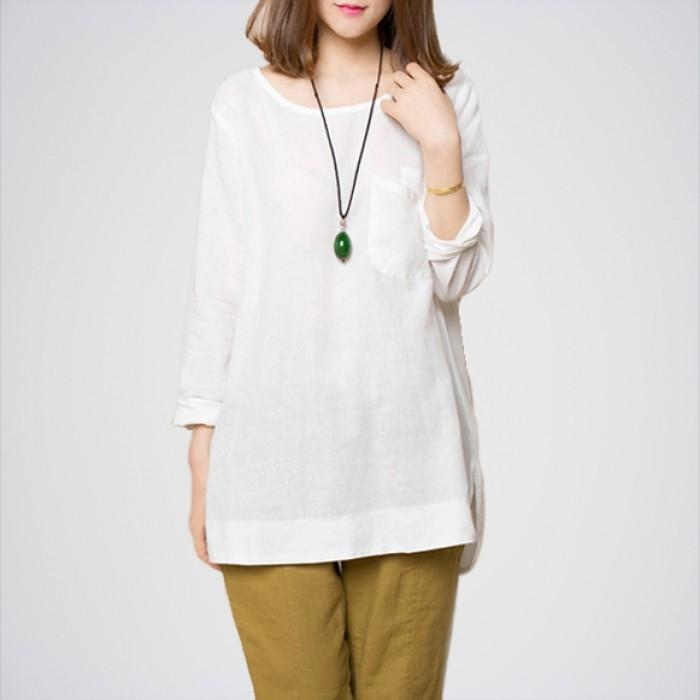 Women's White Long Sleeves Top. E4h-12
