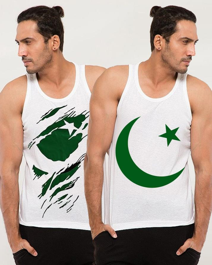 Pack of 2 Patterned Flag Independence Day Tanks For Men