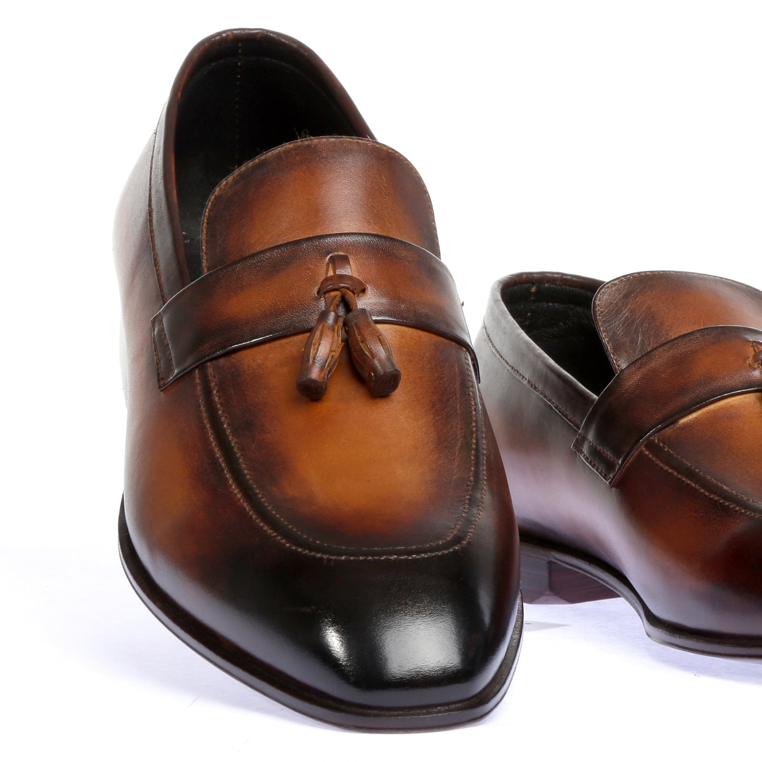 Dust Brown-Pure Leather Hand Painted Shoes - Tan/Brown