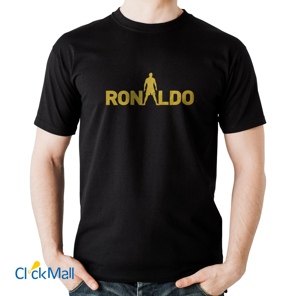Time Line Black Ronaldo Printed Polyester Sports T Shirt for Men