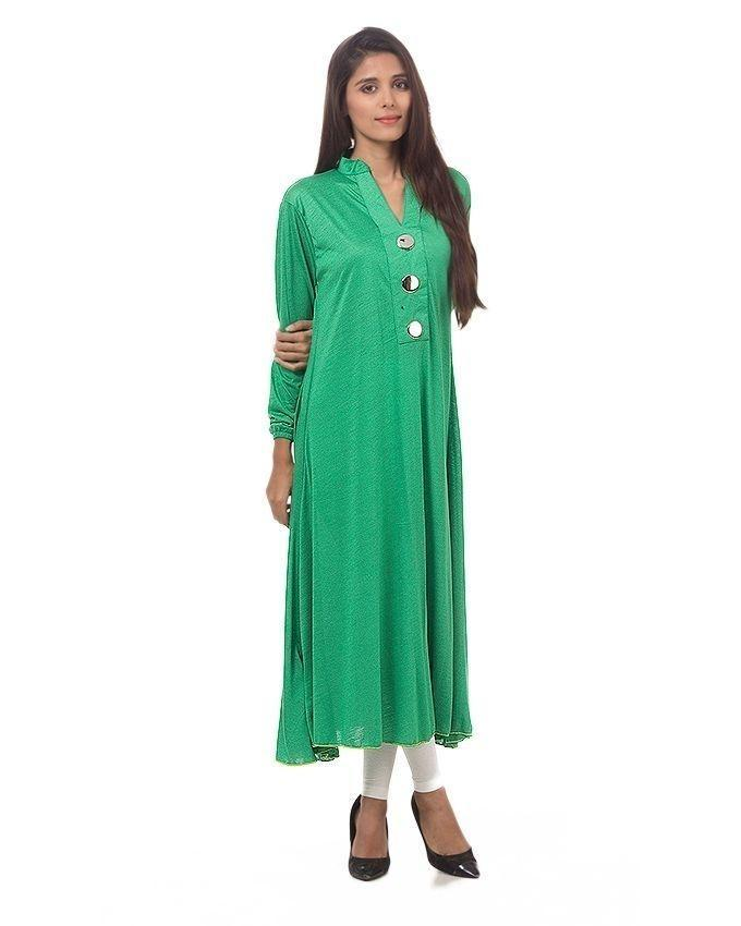 Green Viscose Long Jalpari Kurti for Women - AJ-7662..