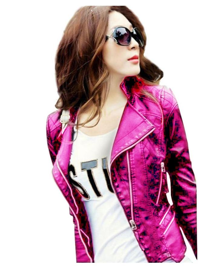 Deep Pink Leather Jacket For Women