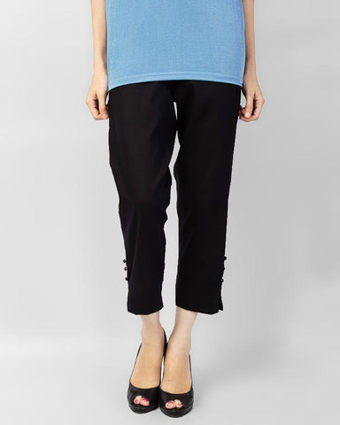 Black Cotton Cigarette Pants