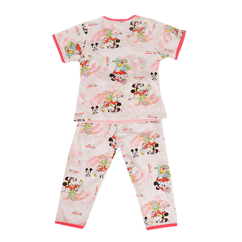 Pack of 2 Pure Cotton Night Suit (Pajama + Tshirt) for Girls - Minnie Mouse UG-425-6