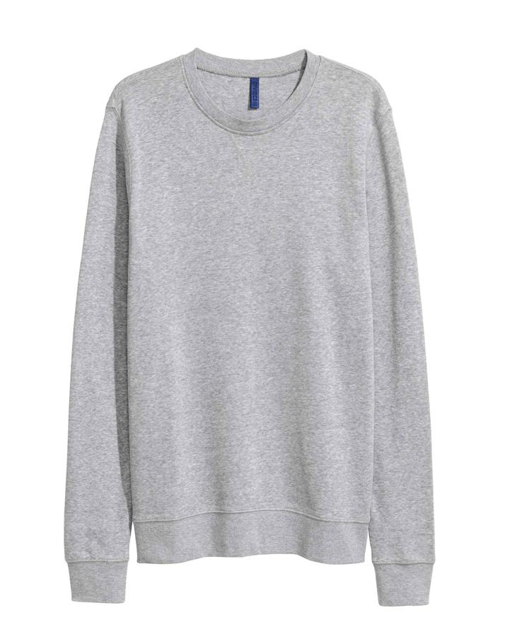 Heather Grey Solid Fleece Sweatshirt For Men. SS-78