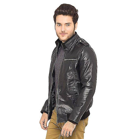 Men's Slim Fit PU Leather Jacket Black MB-122