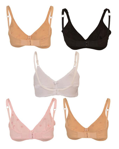 Pack of 5 Roses Luxury Super Lady Cotton 2 Hooks Plain Bra for Women - Multicolour UG-516-32
