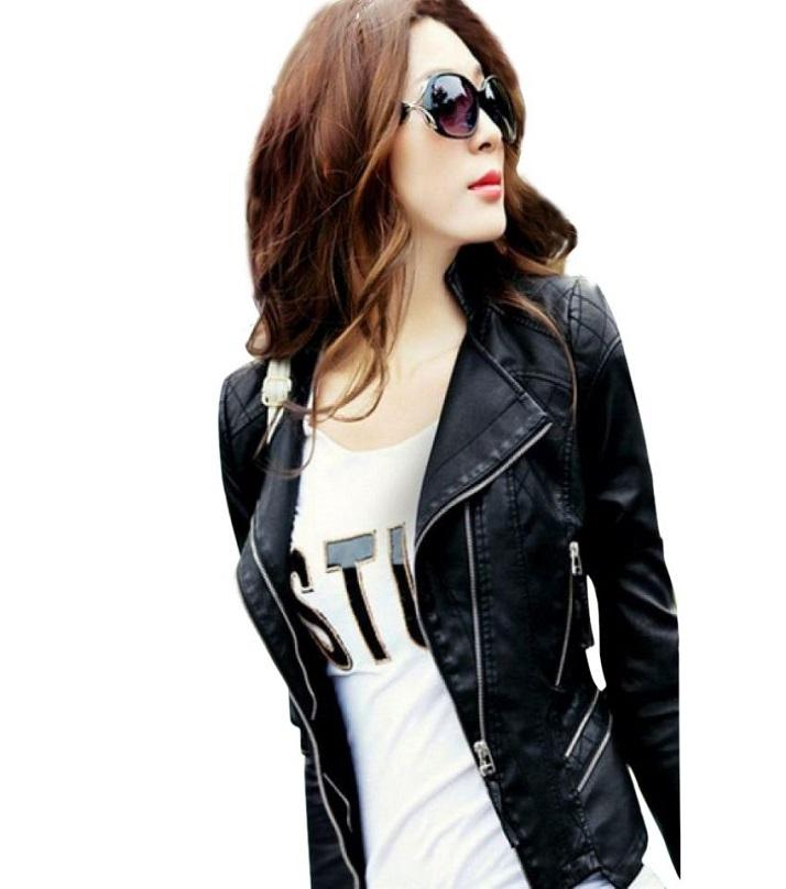 Women Black faux Leather Jacket