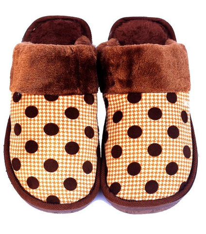 Rhizmal Brown Woolen Polka Dot Printed Plush Foam Slippers for Women