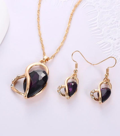 Rhizmal Fallen Heart Shaped Crystal Jewellery Set - Purple