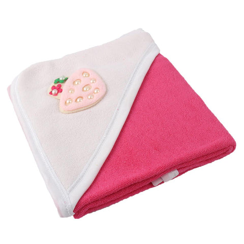 Angel Kids Hooded Single (Thin) Bath Towel For Kids (100% Cotton) 30x30 Inch  Dark Pink