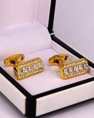 Golden with White Crystal Stones men cufflink